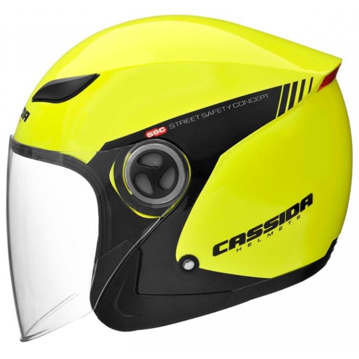 Otevřená přilba na motorku Cassida Reflex Safety černo-fluo žlutá