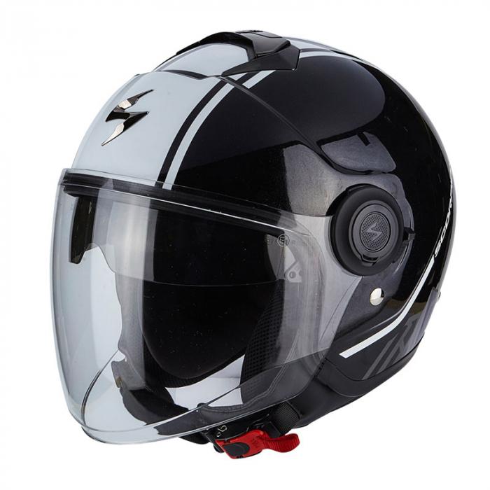 Otevřená přilba na motorku Scorpion EXO-CITY Avenue černo-bílá výprodej
