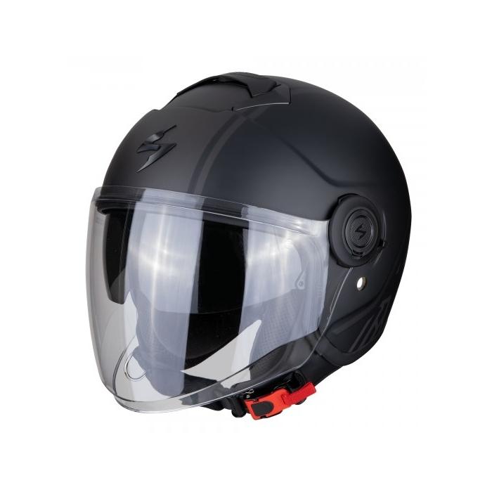 Otevřená přilba na motorku Scorpion EXO-CITY Avenue černo-stříbrná