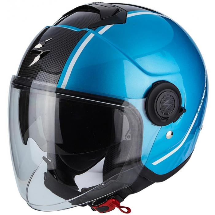 Otevřená přilba na motorku Scorpion EXO-CITY Avenue modro-černá