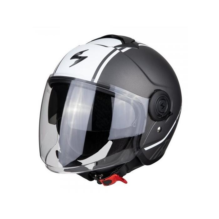 Otevřená přilba na motorku Scorpion EXO-CITY Avenue stříbrno-bílá