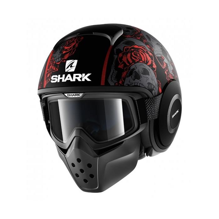 Otevřená přilba SHARK DRAK Sanctus Mat černo-šedo-červená