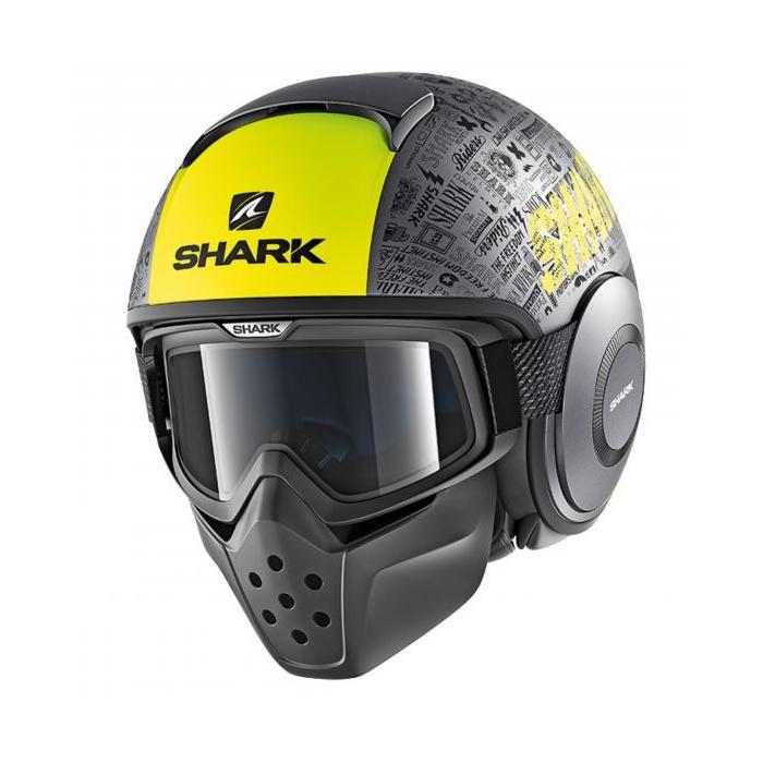 Otevřená přilba SHARK DRAK Tribute Mat černo-šedo-žlutá
