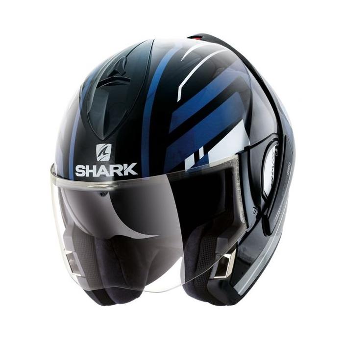 Překlápěcí přilba SHARK EVOLINE 3 Corvus černo-bílo-modrá