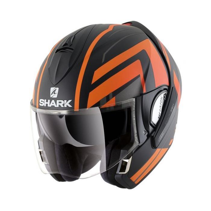 Překlápěcí přilba SHARK EVOLINE 3 Corvus Mat černo-šedo-oranžová
