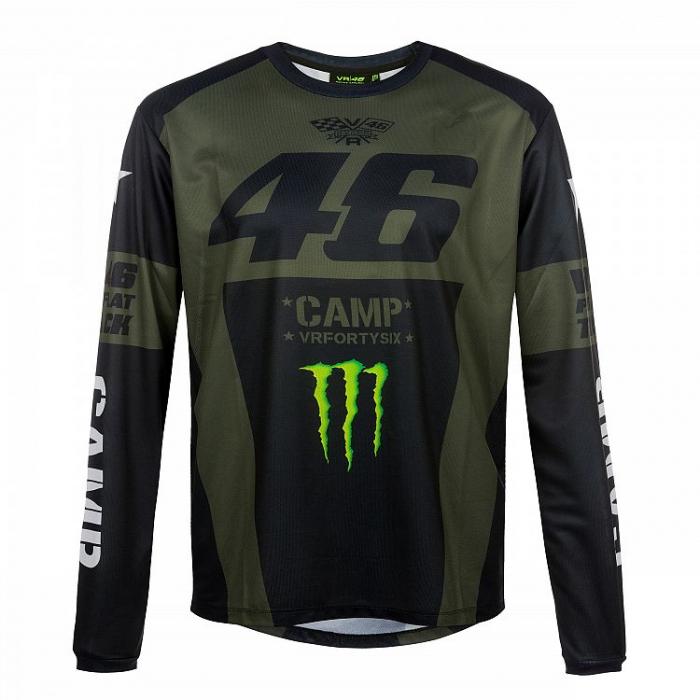 Triko s dlouhým rukávem VR46 Valentino Rossi MONSTER CAMP zeleno-černé