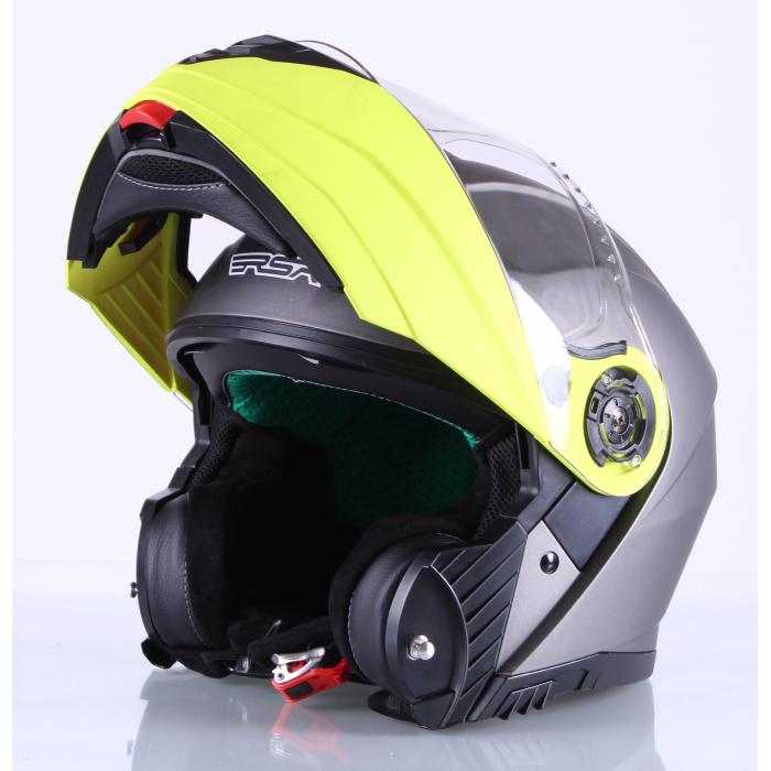 Vyklápěcí přilba na motorku RSA Titanos šedo-fluo žlutá výprodej