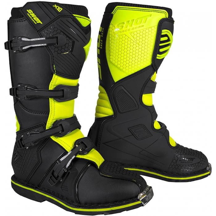 Boty na motorku Shot X10 2.0 černo-fluo žluté